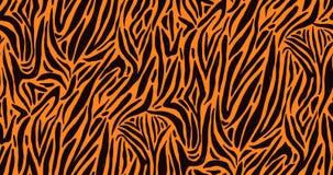 Естественная безшовная картина с оранжевым пальто зебры или тигра текстуры меха Яркий покрашенный животный фон с нашивками иллюстрация вектора