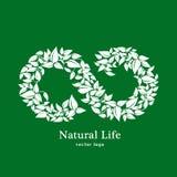Естественная и органическая жизнь Шаблон дизайна логотипа эмблемы eco вектора органический Концепция зеленого цвета Eco натуральн Стоковые Изображения RF