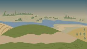 Естественная иллюстрация вектора ландшафта Стоковые Фотографии RF