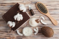 Естественная обработка волос с кокосом Стоковые Фото