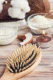 Естественная обработка волос с кокосом Стоковое фото RF