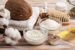 Естественная обработка волос с кокосом Стоковая Фотография