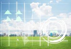 Естественная предпосылка с современным полем зеленого цвета городского пейзажа и средства массовой информации взаимодействуют Стоковые Изображения