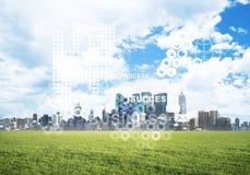 Естественная предпосылка с современным полем зеленого цвета городского пейзажа и средства массовой информации взаимодействуют Стоковое Фото
