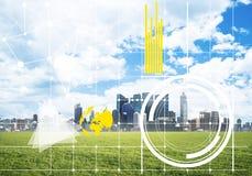 Естественная предпосылка с современным полем зеленого цвета городского пейзажа и средства массовой информации взаимодействуют Стоковое Изображение RF