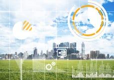 Естественная предпосылка с современным полем зеленого цвета городского пейзажа и средства массовой информации взаимодействуют Стоковые Фото