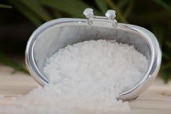 Естественная соль для принятия ванны, органические продукты на предпосылке листьев Стоковые Изображения