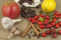 Естественная фармация Традиционная медицина для гриппа и холодов Естественная обработка заболевания Место для вашего текста стоковые изображения rf
