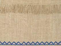 Естественная linen картина текстуры с краем Стоковые Изображения