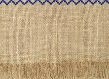 Естественная linen картина текстуры с крупным планом принятым краем Аннотация Стоковые Фото