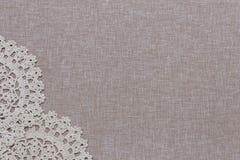 Естественная linen текстура с белым шнурком Стоковая Фотография RF