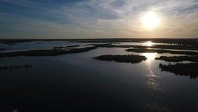 Естественное богатство, экологичность Авиационная съемка реки с камышовыми островами видеоматериал