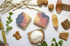 Естественное органическое мыло Экологические косметики Забота тела Eco Стоковая Фотография RF