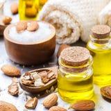 Естественное эфирное масло сладостной миндалины для красоты и курорта Стоковое Фото