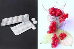 Естественные витамины или таблетки Ягоды красного зрелого schisandra или целебных подготовок Стоковое Фото