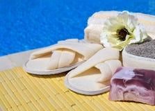 Естественные губки ванны, тапочки ванны, handmade мыло и цветок Стоковое Изображение RF