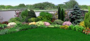 Естественные земли окружая дом, 3d представляют Стоковое Изображение RF