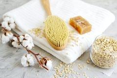 Естественные ингридиенты для домодельной овсяной каши тела Scrub концепция красоты полотенца мыла белая Стоковые Изображения RF