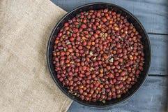 Естественные картины плода шиповника высушенные на деревянных полах, изображения плода шиповника высушенные для того чтобы сделат Стоковое фото RF
