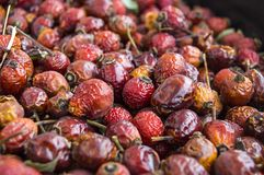 Естественные картины плода шиповника высушенные на деревянных полах, изображения плода шиповника высушенные для того чтобы сделат Стоковое Изображение