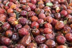 Естественные картины плода шиповника высушенные на деревянных полах, изображения плода шиповника высушенные для того чтобы сделат Стоковая Фотография RF