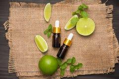 Естественные косметики для домашнего курорта Бутылка масла сути с свежей Стоковая Фотография
