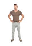 Естественные молодые человеки с джинсами стоковые фотографии rf