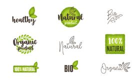Естественные, органические, био установленные ярлыки еды и логотипы Стоковое Изображение RF