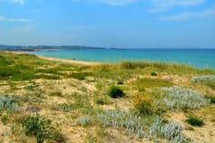 Естественные дюны на пляже Lanzada (Понтеведре, Галиции, Испании) Стоковая Фотография RF