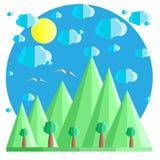 Естественный ландшафт лета в плоском стиле Горы и деревья, облака и солнце Пример для карточки, знамени, значка Стоковые Фотографии RF