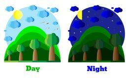 Естественный ландшафт лета в плоском стиле день ноча Пример для карточки, знамени, значка Экологические темы Стоковые Фото