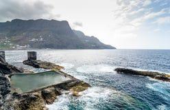 Естественный бассейн в острове Gomera Ла, Канарских островах стоковые фотографии rf