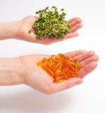 Естественный витамин против дополнений Здоровое питание Стоковое Изображение