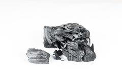 Естественный деревянный уголь изолированный на белой предпосылке Стоковое фото RF
