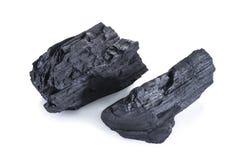 Естественный деревянный уголь изолированный на белом, традиционном угле Стоковая Фотография RF