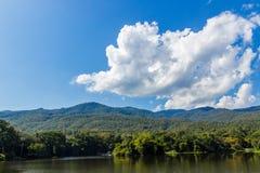 Естественный зеленый цвет ландшафта на предпосылке неба Стоковое Изображение RF