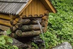 Естественный источник ключевой воды в лесе пропуская от деревянного колодца Стоковое фото RF