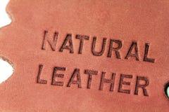 Естественный кожаный ярлык стоковая фотография