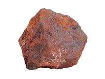 Естественный образец железной руды гематита на белой предпосылке Стоковое Фото