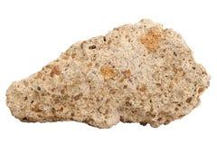 Естественный образец известковой скалы туфа на белой предпосылке Стоковые Фото