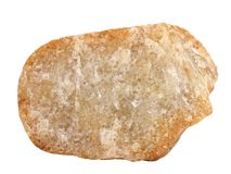 Естественный образец кристаллического утеса orthoquartzite кварцита на белой предпосылке Стоковые Фотографии RF