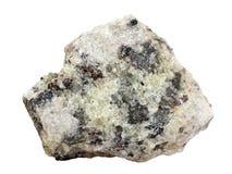 Естественный образец кристаллического апатита на белой предпосылке Стоковая Фотография RF