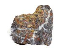Естественный образец минерального †халькопирита «важная медная руда на белой предпосылке Стоковые Фото