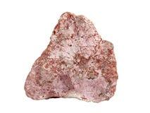 Естественный образец утеса брекчии от известняка и рухляка с цементом карбонат-глины на белой предпосылке Стоковое фото RF