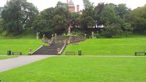 Естественный сад с зеленой травой Стоковая Фотография