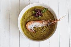 Естественный суп сливк тыквы, с креветкой Стоковое Изображение RF