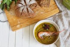 Естественный суп сливк тыквы, с креветкой Стоковые Фото