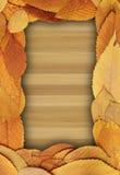 Естественный фон с золотой листвой на таблице Стоковая Фотография RF