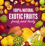 Естественный экзотический плакат плодов с вегетарианской едой бесплатная иллюстрация