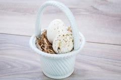 3 естественных голубых пасхального яйца в корзине Стоковые Фотографии RF